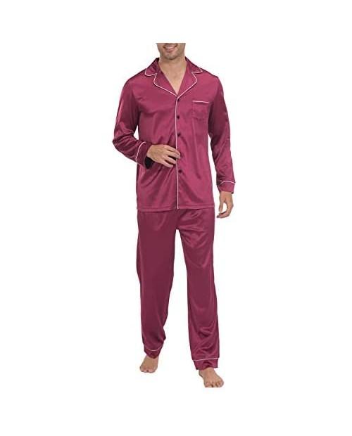 Indefini Men's Satin Pajama Set Classic Button Down Sleepwear Loungewear Silky Pj Sets Size S-2XL