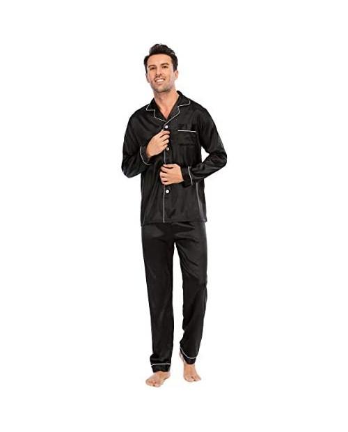 LZLER Mens Pajama Set,Classic Satin Pajamas for Men