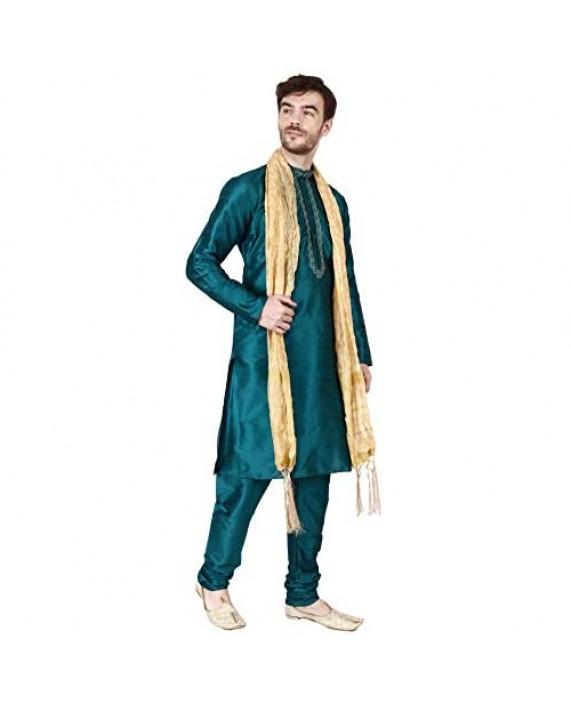 Maple Clothing Kurta Pajama Set Men's Indian Ethnic Wedding Party Dress Art Silk