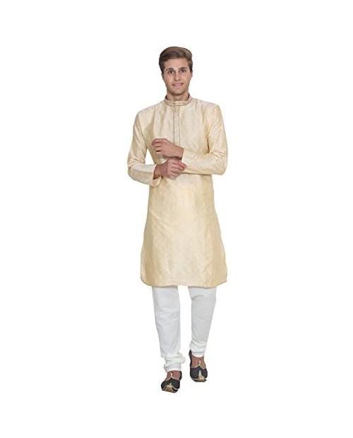 Maple Clothing Men's Kurta Pajama Jacquard Silk India Wedding Party Wear Apparel
