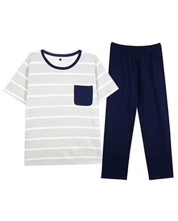 MAX&IN Clothing Men's Pajama Set 100% Cotton Long Pajama Pants for Men Short/Long Sleeve Crew Neck Lounge Sleepwear