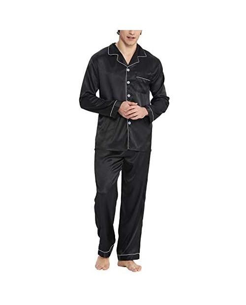 Men&Women Satin Pajamas Set Lightweight Long Sleeve Button Down Elastic Waist Loose fit Nightwear Soft Pj Free Eye Mask