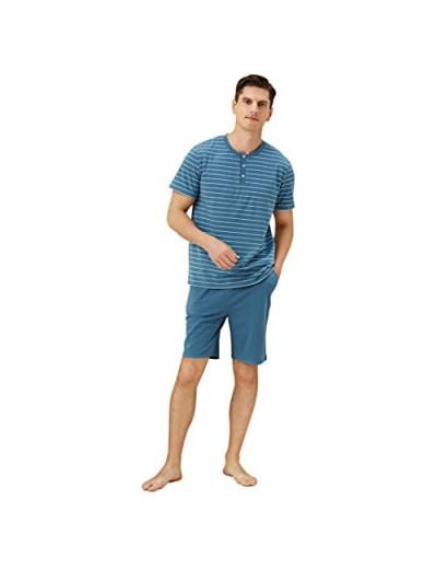 Men's Pajama Set Summer Striped Pajama Set Classic Short Sleeve Sleepwear for Loose Casual Sleepwear