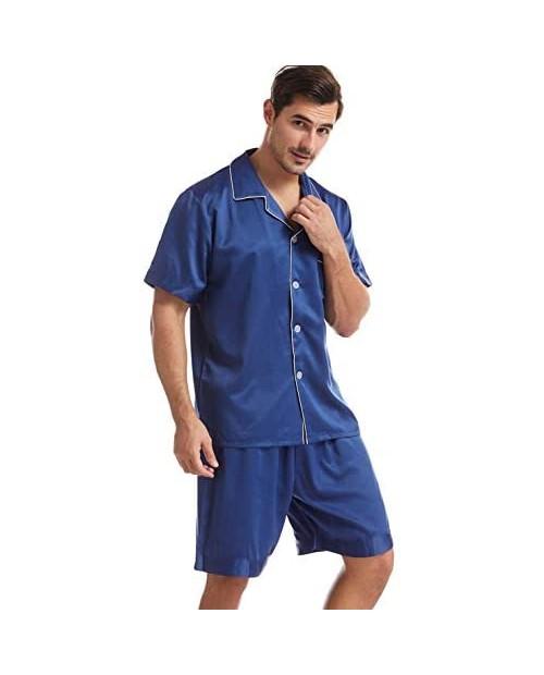 Mens Satin Pajamas Set Silky Sleepwear Loungewear Short Sleeve Pajama Set with Shorts