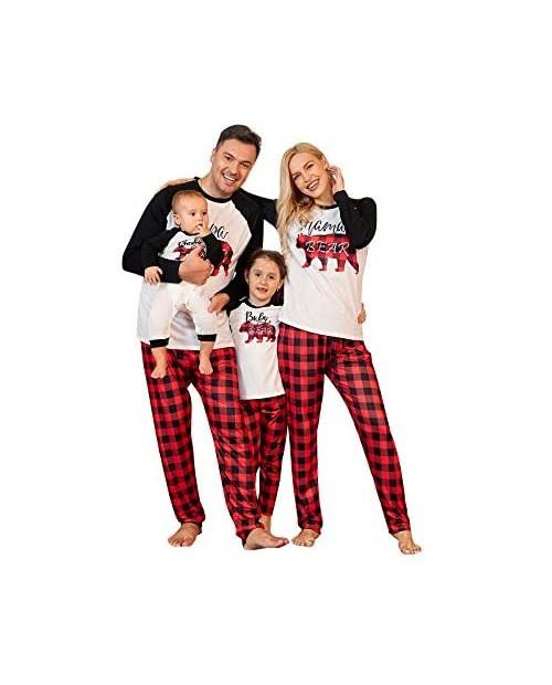 PopReal Family Pajamas Matching Sets Matching Christmas PJs with Mama Bear Printed Romper Plaid Pants Sleepwear