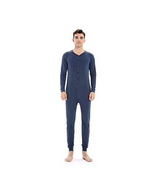 qingduomao Mens Onesie Pajamas Button Down Long Sleeve Union Suit One Piece Jumpsuit Valentine's Day Gift