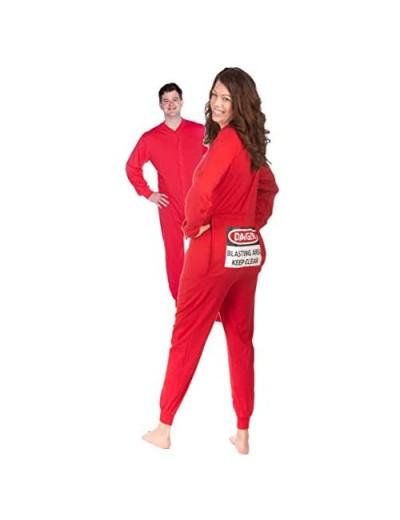 Red Union Suit Men & Women Onesie Pajamas with Funny Butt Flap Danger Blasting Area