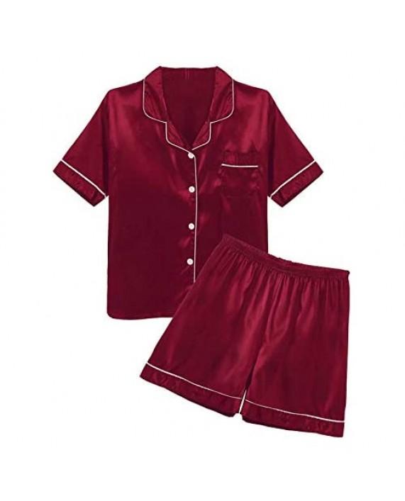 TSSOE Satin Pajamas for Men Short Sleeve Silk Pajama Set with Shorts Two Piece Pj Sets Button-Down Sleepwear Loungewear