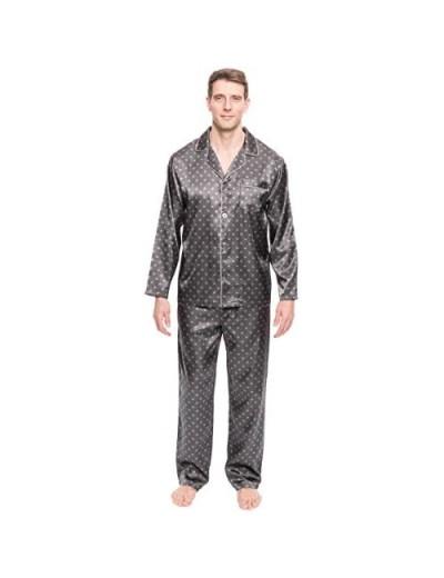 Twin Boat Mens Satin Pajamas Set - Mens Button Down Silky Satin Pajamas
