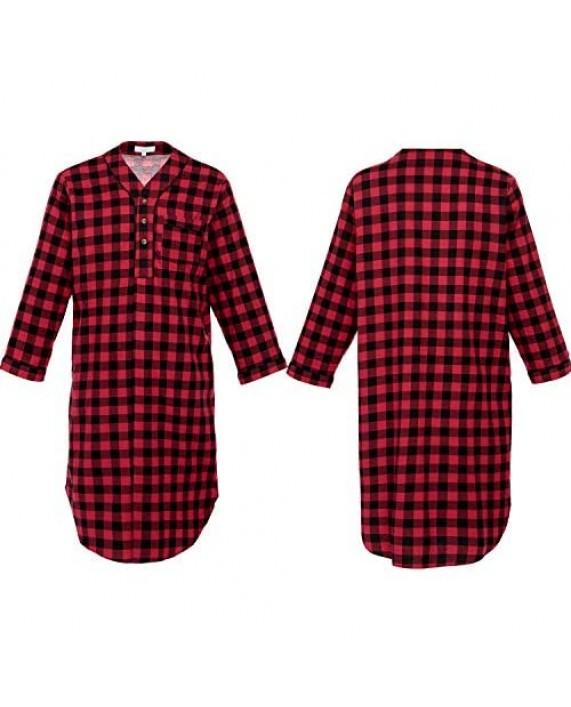 Alexander Del Rossa Men's Lightweight Flannel Sleep Shirt Long Henley Nightshirt Pajamas