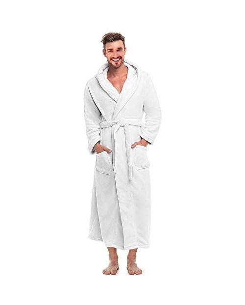 Alimens & Gentle Men's Hooded Fleece Bathrobe Full Length Warm Plush Robes