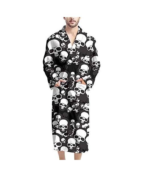 Aoopistc Men Bathrobes with Tie Belt Soft Lightweight Cozy Pajama Shawl Robe Full Length Long Sleeve Sleepwear