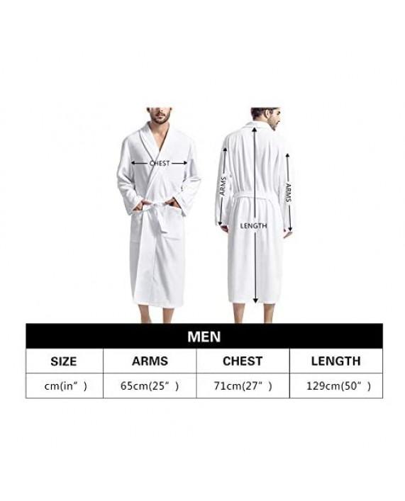 Aoopistc Ultra Cozy Soft Men Bathrobes Lightweight V-neck Long Robe Shawl Kimono Sleepwear Nightgown with Front Pockets