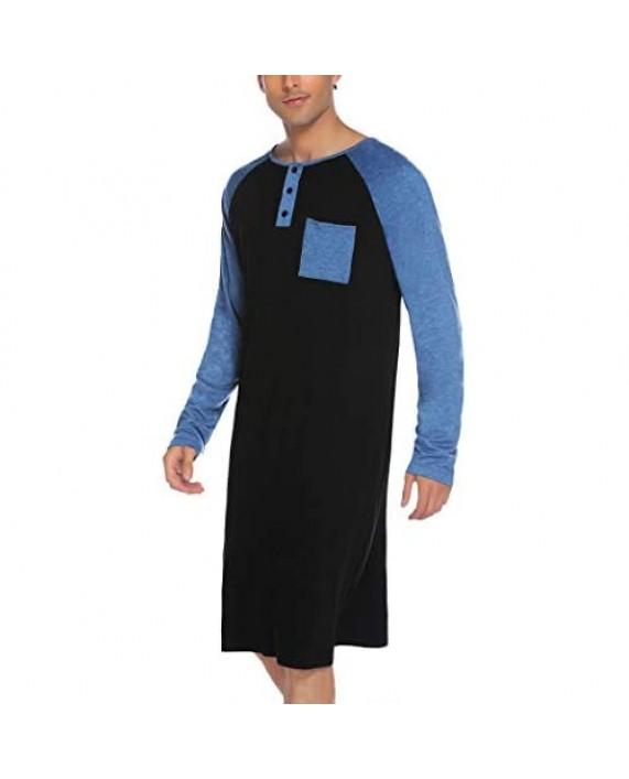 Evanhome Cotton Sleep Shirt Men V-Neck Nightshirts Short Sleeve Henley Shirt Lounge Sleepwear M-XXXL