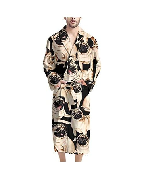 GIFTPUZZ Men's Bathrobe Warm Kimono Robe with Pockets Sleepwear Lounge Robes Full Length Waist Belt Self Tie Nightgown