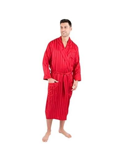 INTIMO Mens Satin Striped Silk Robe