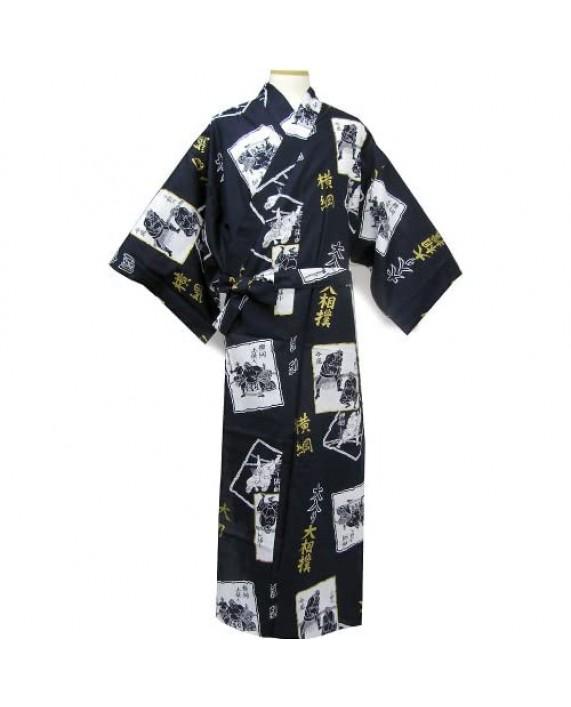 JapanBargain Japanese Men's Cotton Yukata Kimono Bath Robe Sumo Design Made in Japan