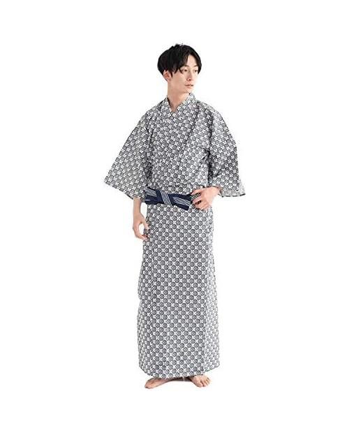 KYOETSU Men's Japanese Yukata Spa Robe Set (Yukata/String/Obi)