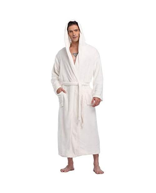 Men's Hooded Bathrobe Plush Fleece Long Winter Robe Warm Soft Spa Robe