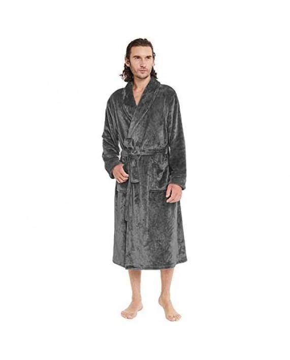 Men's Luxurious Plush Shawl Collar Robe Lightweight Warm Fleece Kimono Spa Bathrobe