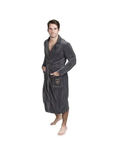 Mens Robe Velour- Kimono Spa Long Bathrobe with Shawl Collar