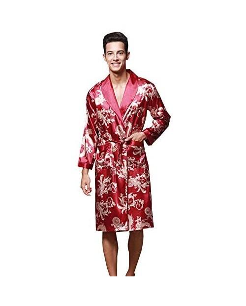 Mens Satin Robe Chinese Dragon Silk Spa Long Sleeve Bath Robe Nightgowns Pajamas