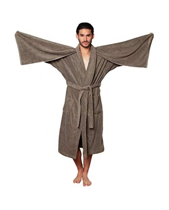 Men's Soft Bathrobe Relaxed Cut - Unique Luxury Cotton Robe with Hair Towels Pure Turkish Cotton Housecoat below the knee