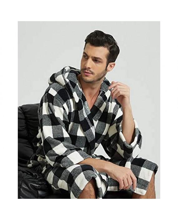 Pishon Mens Long Hooded Bathrobe Soft Plush Plaid Warm Flannel Robe
