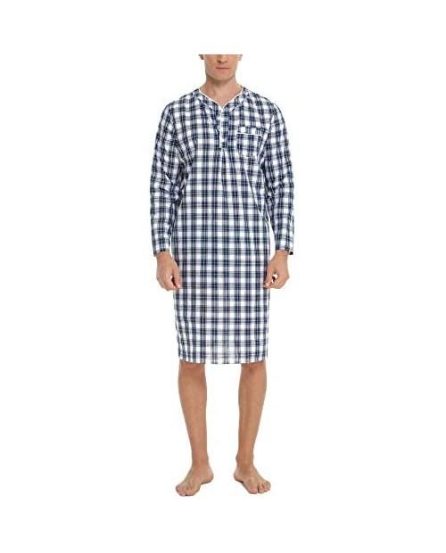 Sykooria Men's Nightgown Long Sleeve Henley Kaftan Sleep Shirt Knee Length Comfy Nightshirts