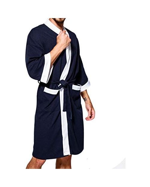 TAKIYA Men's Spa Bathrobe Waffle Turkish Cotton Lightweight 3/4 Sleeve Kimono Robe Shawl Collar Nightgown Sleepwear