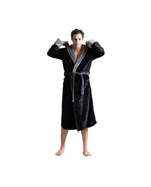Turkuoise Men's Warm Fleece Robe with Hood Big and Tall Comfy Bathrobe
