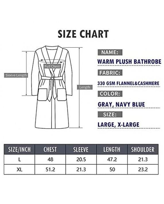 XING YE CHUAN Men's Fleece Robe Warm Plush Bathrobe