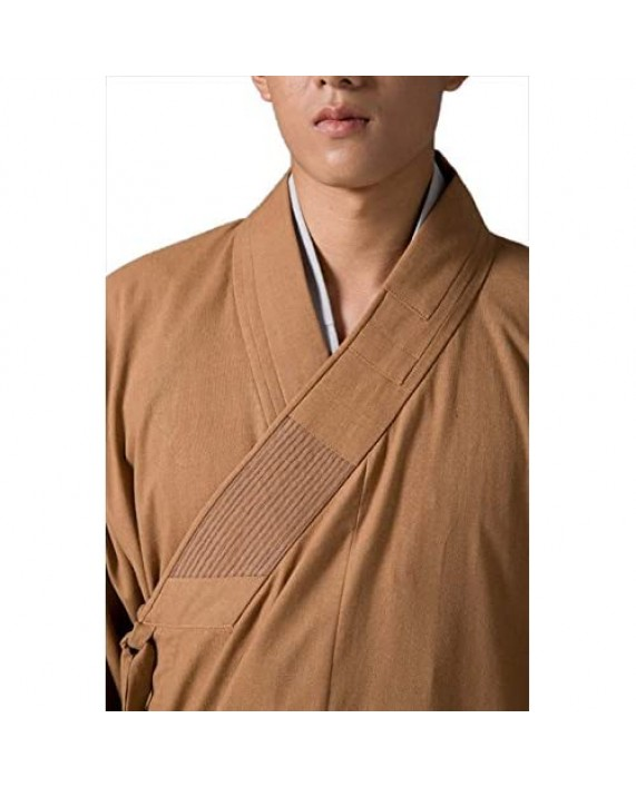 ZanYing Men's Long Gown Traditional Buddhist Meditation Monk Robe
