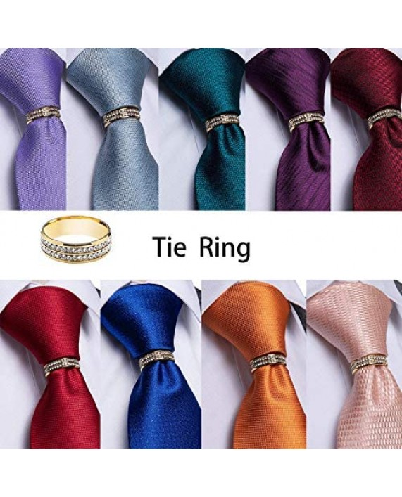 DiBanGu Mens Formal Solid Tie and Gold Tie Ring Set Silk Pocket Square Cufflinks with Gift Box