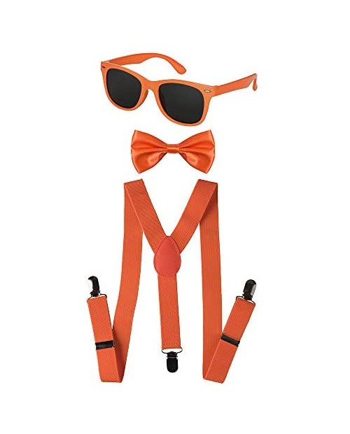 Dress Up America Neon Suspender Bow-tie Sunglasses Accessory Set - Adult and Kids Size Suspenders