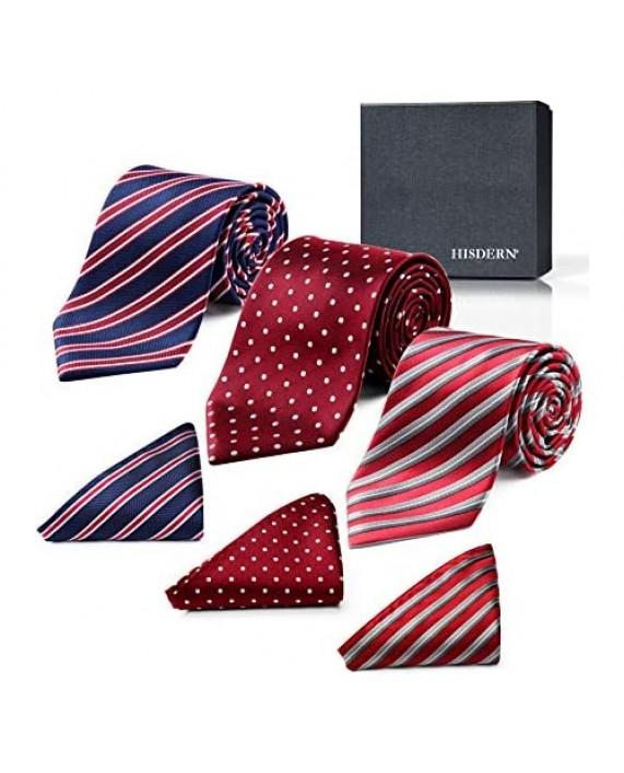HISDERN 3 PCS Extra Long Tie Set 63 Inch XL Necktie & Pocket Square + Gift Box