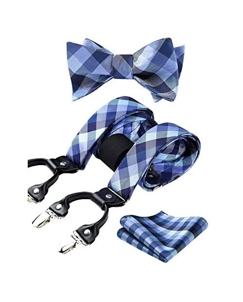 HISDERN Mens bowtie and suspenders set Y Back 6 Clips Check Stripe Animal Adjustable Braces pocket square for wedding party