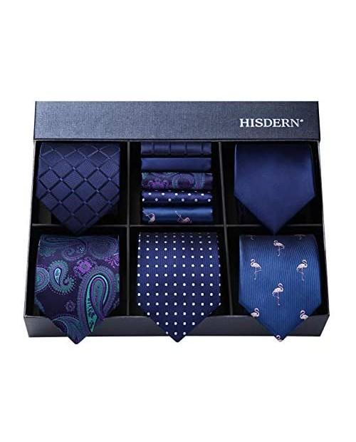 HISDERN Men's Necktie Collections Lot 5 PCS Classic Men's Silk Tie Set Necktie & Pocket Square with Gift Box