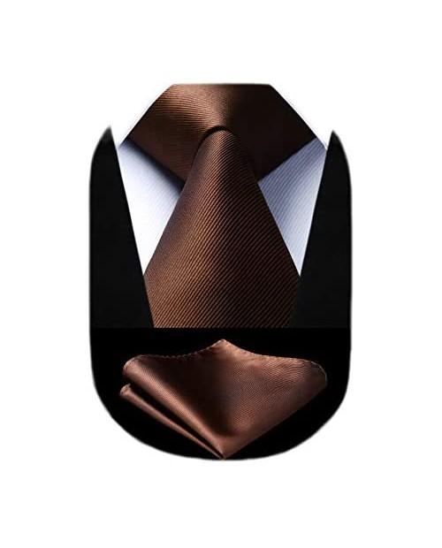 "HISDERN Solid Color Ties for Men Formal 3.35"" Necktie Tie and Pocket Square Set Wedding"