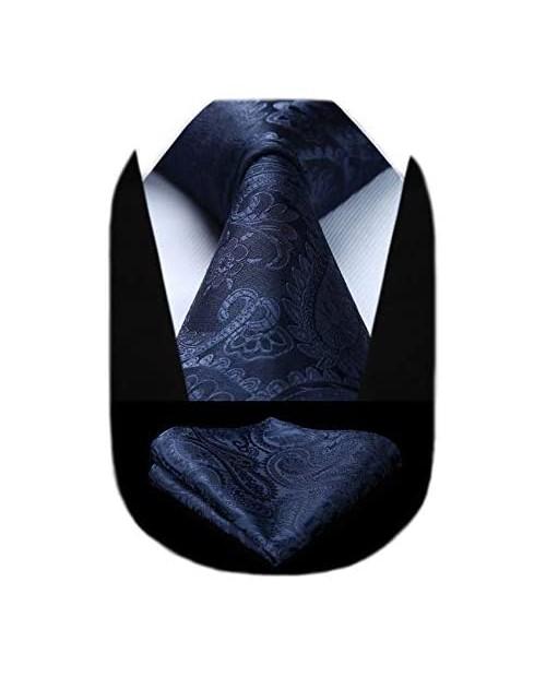 HISDERN Solid Paisley Tie for Men Handkerchief Woven Classic Flower Men's Necktie & Pocket Square Set