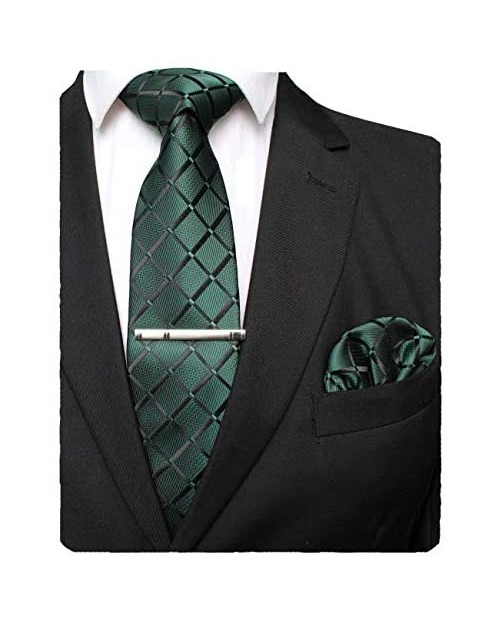 JEMYGINS Solid Color Mens Plaid Tie and Pocket Square with Tie Clip Sets