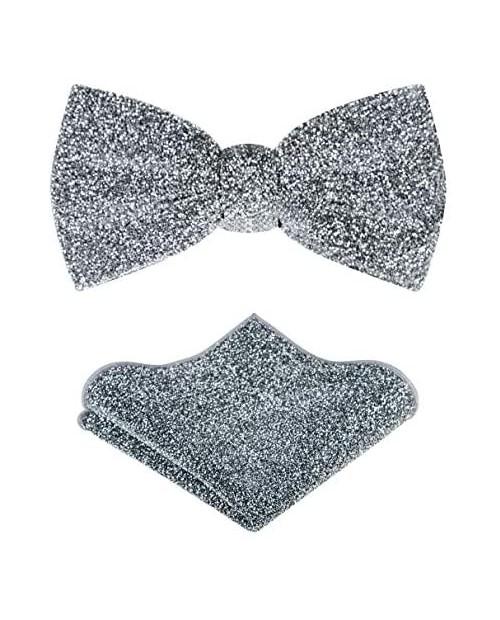 TIE G Men's Glitter Velvet Bow Tie + Pocket Square Set in Gift Box for Wedding Party : Glittering Effects Unisex Design
