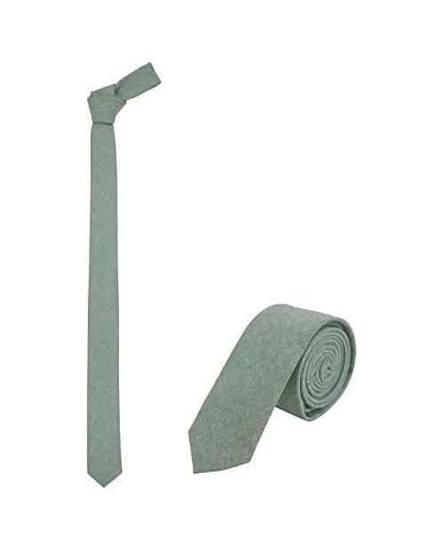 """JNJSTELLA Men's Cotton Solid Skinny Necktie 2"""" Tie"""