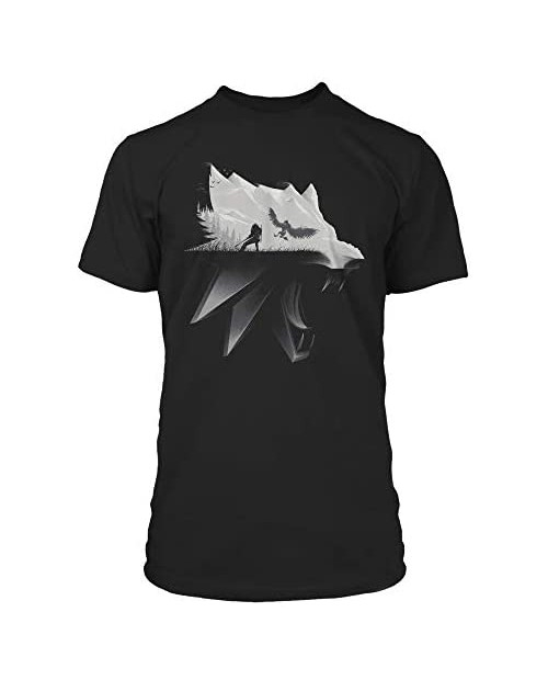 JINX The Witcher 3 White Wolf Silhouette Men's Gamer Graphic T-Shirt