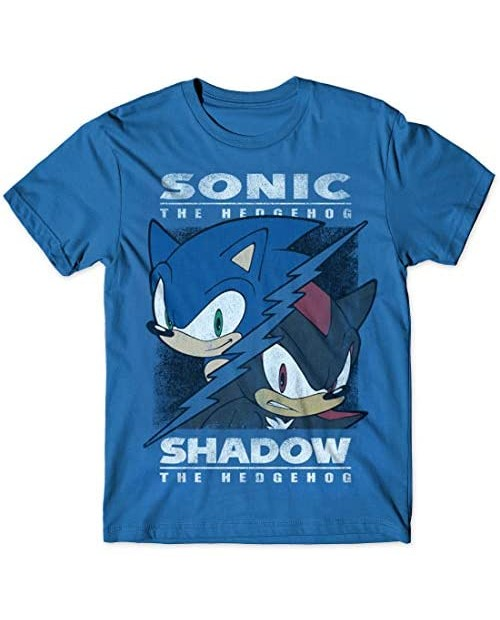 Sonic vs Shadow Split T-Shirt for Adult Classic Game Vintage Distressed