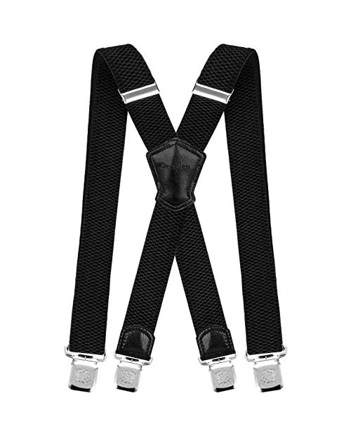 Decalen Mens Suspenders Very Strong Clips Heavy Duty Braces Big and Tall X Style