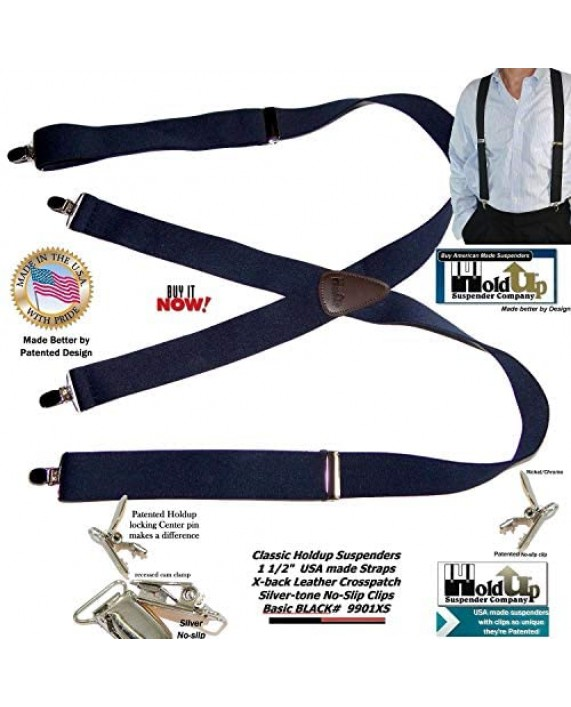 "Hold-Ups 1 1/2"" Wide Classic Series Suspenders in X-back style w/Patented No-slip Silver Clips"