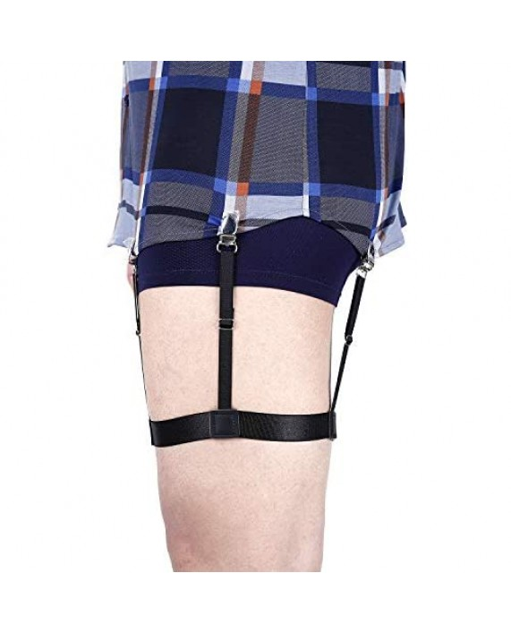 Men Shirt Stays Adjustable Elastic Shirt Garter Shirts Holder with Non-slip Locking Clamps for Police Military