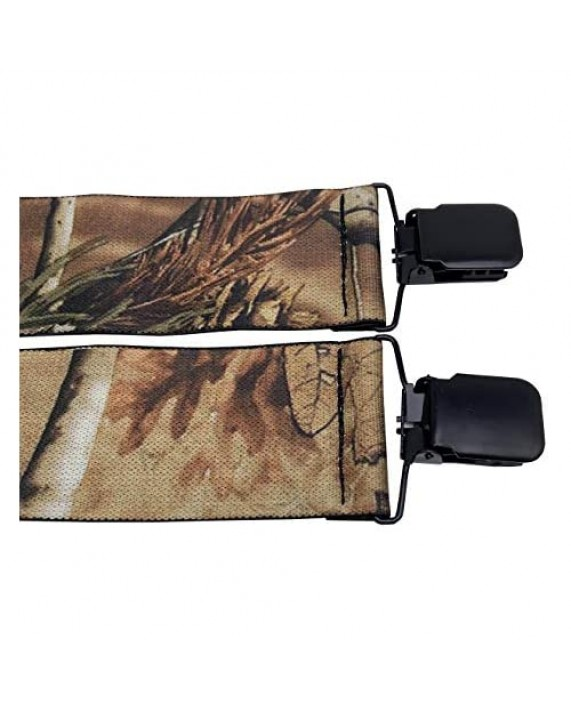 """MENDENG Men's Camouflage Clip-End Suspenders 2"""" Strong Clips Heavy Duty Braces"""