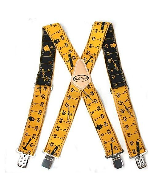 """Mens Suspenders 2"""" Wide Adjustable and Elastic Braces X Shape with Very Strong Clips - Heavy Duty tape measure suspenders for men (Rule)…"""
